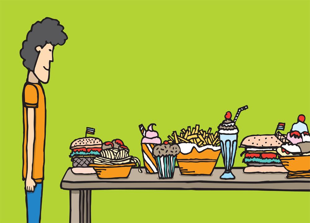 Man staring at table of food