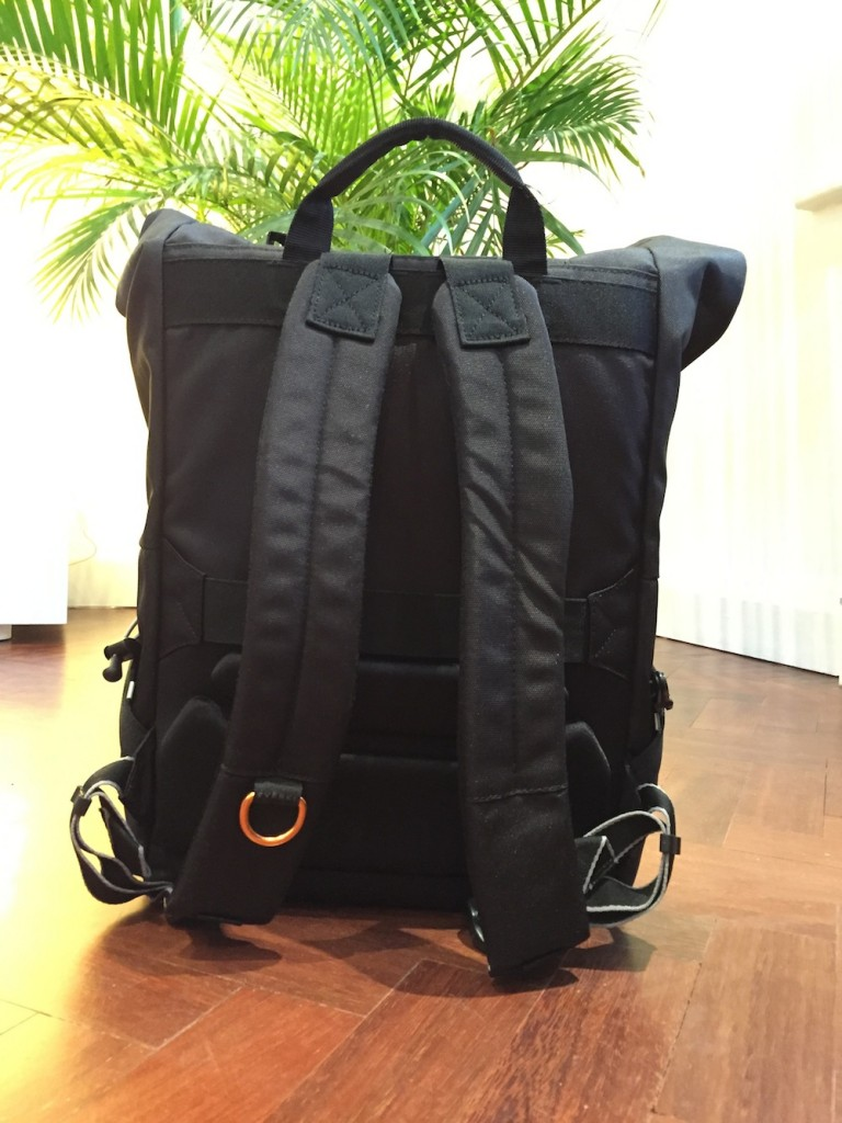 The rolltop backpack has padded and reactive shoulder straps, with an ergonomically moulded back panel