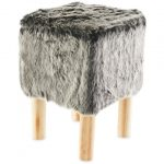 Dark Grey Faux Fur Stool