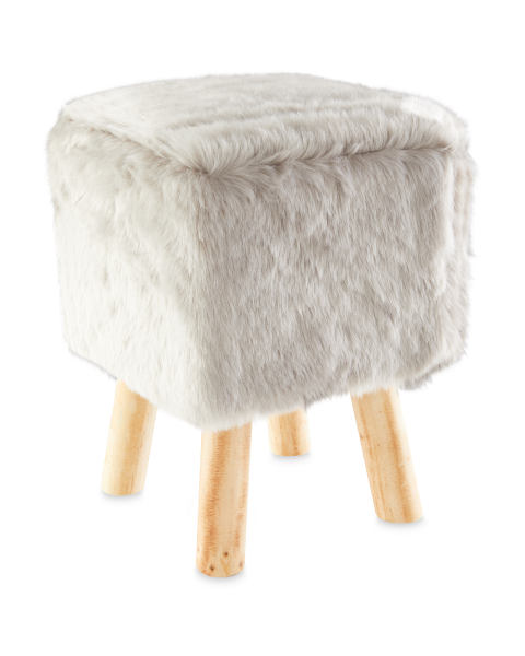 Light Grey Faux Fur Stool