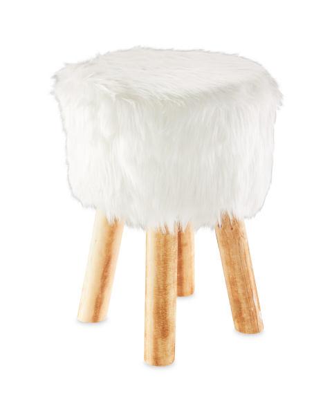 Round Cream Faux Fur Stool